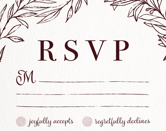 Burgundy Rustic Classic Wedding RSVP, Simple, Distressed, Textured, Monogram, Printable
