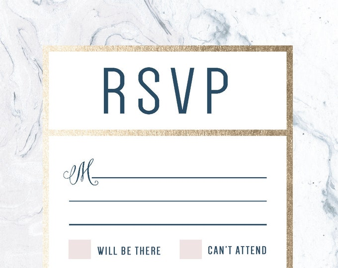 Gold Marble Wedding RSVP Dusty Rose, Foil, Pink, Pattern, Dark Blue, Navy, light grey, Printable