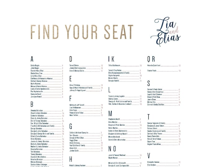 Gold Marble Seating Chart Dusty Rose, Foil, Pink, Pattern, Dark Blue, Navy, light grey, Printable