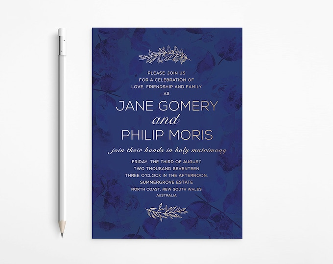 Gold & Blue Evening Wedding Invitation, Night Skye, Wreath, Navy Blue, Deep Blue, Night, Romantic, Printable