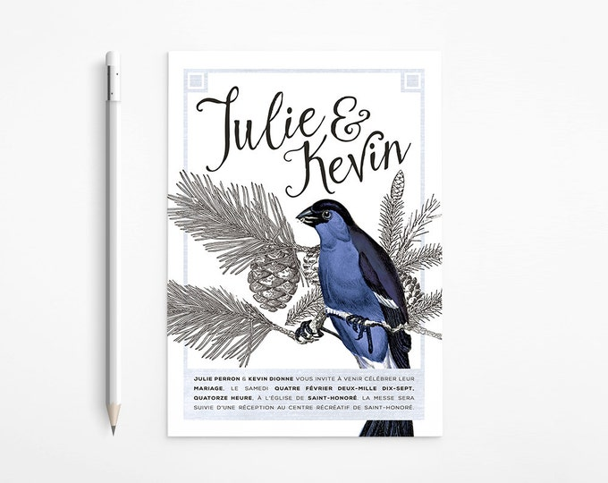 Vintage Winter Lovebirds Wedding Invitation, Dark blue, Black and white, Romantic, Printable