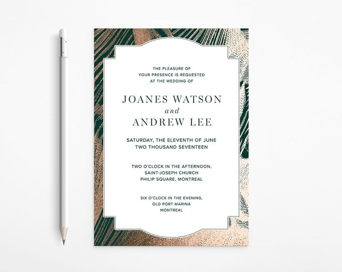 Elegant Emerald Green & Rose Gold Wedding Invitation, Foil, Marble, Printable