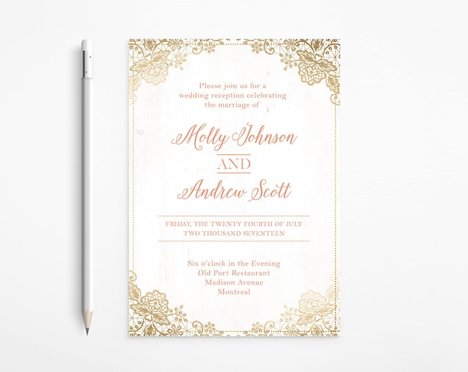 Romantic Coral & Gold Wedding Invitation, Coral, Foil, Lace, Ivory, Shabby chic, Glamour, Printable
