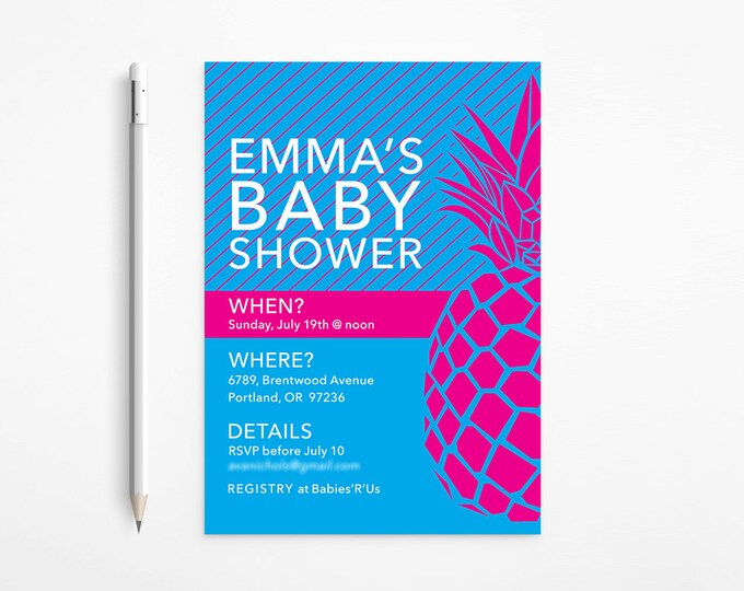 Fuschia & Blue Pineapple Baby Shower Invitation, Modern, Stripes, Pink, Turquoise, Aqua - Patterned, Printable