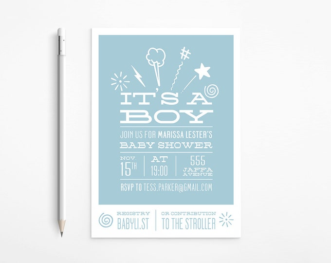 Light Blue Baby Shower Invitation, Boy, Grey, White, Simple, Printable