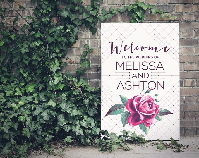 Wedding Sign, Printable Welcome Sign, Vintage Rose, Green foliage, Modern, Geometric, Purple, Printable