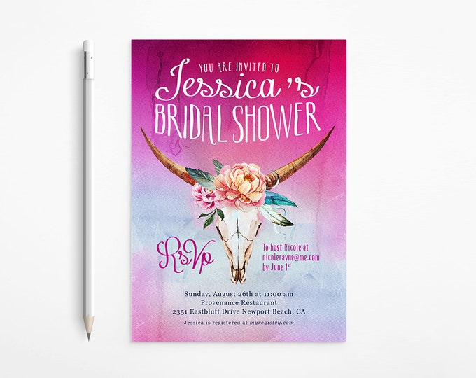 Boho Bridal Shower Invitation, Country, Western, Ombré, Watercolor, Feathers, Flowers, Skull, Fuchsia, Bachelorette Party, Printable