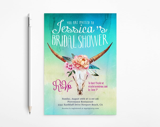 Printable Boho Bridal Shower Invitation, Country, Western, Ombré, Watercolor, Feathers - Flowers - Teal - Bachelorette Party, Printable