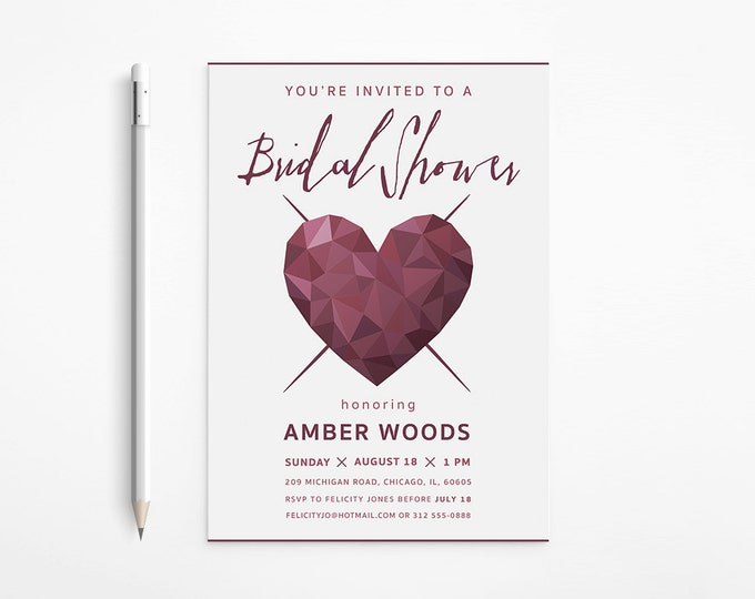 Modern Heart Bridal Shower Invitation, Dark Red, Geometric, Faceted, Printable