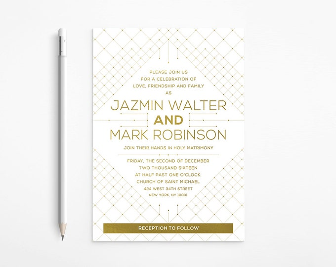 Geometric Gold Wedding Invitation, Modern, Art Deco, White, Orchid, Floral, Art Nouveau, Gatsby, Printable