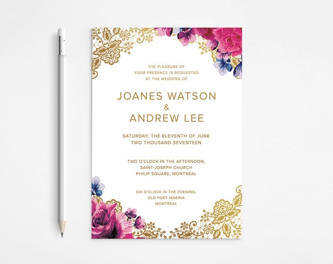 Chic Gold Floral Wedding Invitation, Lace, Raspberry,  Purple,  Pink, Flowers - Classical - Roses   - DISCOUNT, Printable