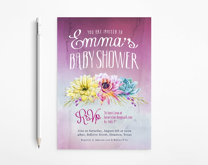 Boho Ombré Baby Girl Shower Invitation, Watercolor, Exotic, Flowers, Succulents, Plants - Pink - Purple, Printable