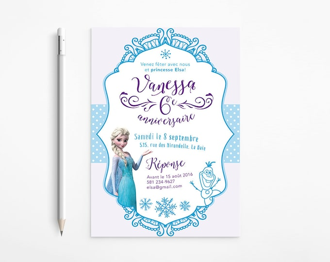 Frozen Birthday Party Invitation, Princess, Elsa, Girl, Snowflakes, Olaf, Whimsical, Turquoise, Purple, Printable