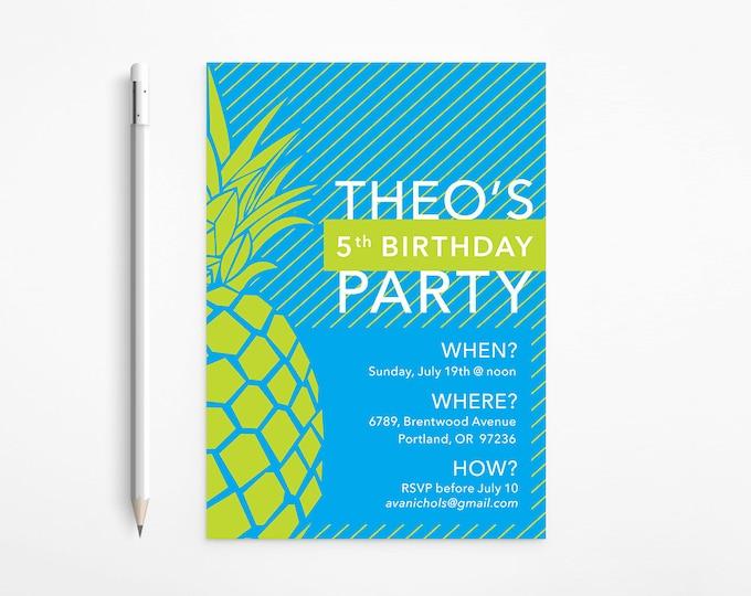 Green & Blue Pineapple Birthday Invitation, Modern, Stripes, Yellow, Turquoise, Aqua - Patterned, Printable
