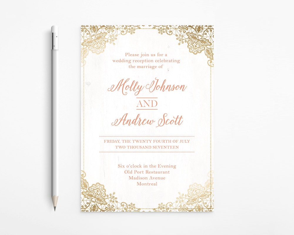 Romantic Coral & Gold Wedding Invitation, Coral, Foil, Lace, Ivory ...