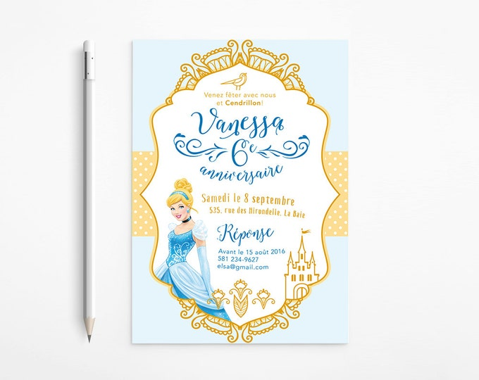 Cinderella Birthday Party Invitation, Princess, Girl, Dress, Gold, Whimsical - Blue - Disney - Fantasy - Coloring page, Printable