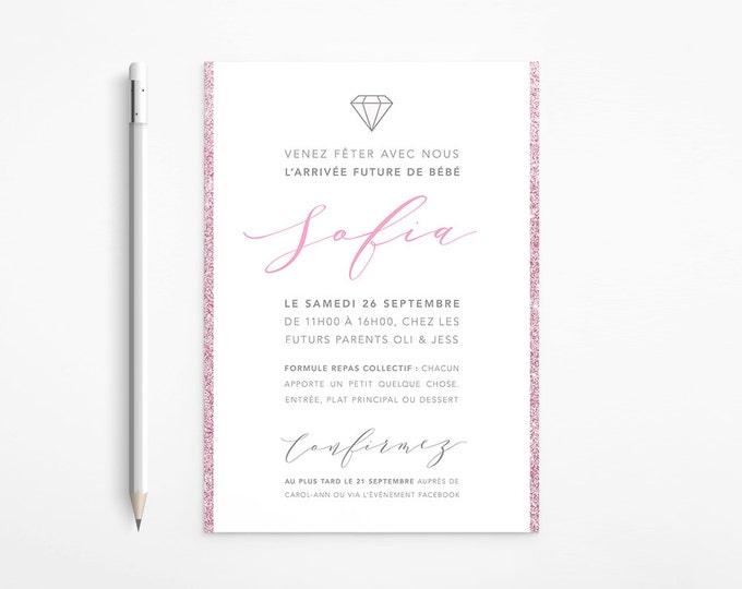Pink and Grey Modern Baby Shower Invitation, Silver, Glitter, Diamond, Printable
