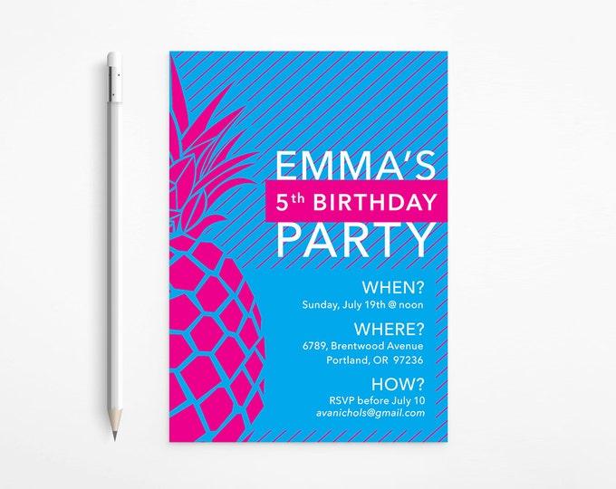 Fuschia & Blue Pineapple Birthday Invitation, Modern, Stripes, Pink, Turquoise, Aqua - Patterned, Printable