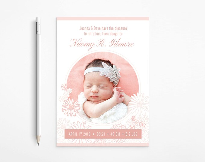 Daisies Birth Announcement with photos | Floral Baby design, Flowers, Light Coral, White, Soft Pink, Classical, Printable