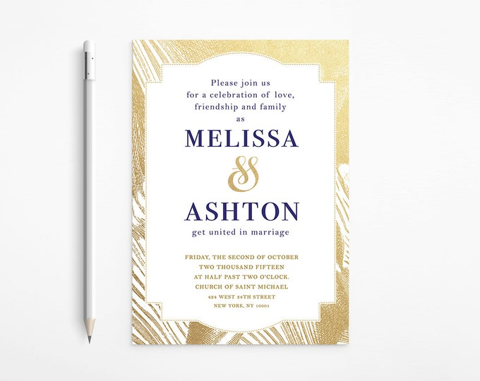 Elegant Gold & Navy Wedding Invitation, Foil, Glitter, Classic, Framed, Printable