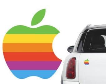 Retro vintage apple rainbow logo Car Decal sticker