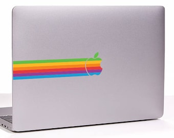 Retro vintage apple rainbow logo RIBBON MacBook Decal sticker fits all sizes. Laptop People Love apple ad commercial