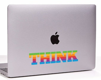 THINK retro vintage apple rainbow logo MacBook Decal sticker fits all sizes. Laptop People Love apple ad commercial