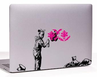 Banksy Paris mural Graffiti girl Refugees MacBook decal sticker, choose your size
