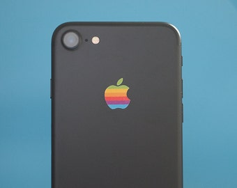 68de9b25907 Set of 2 Retro vintage apple rainbow logo iPhone X, iPhone 8, iPhone 7 and  older Decal sticker fits all sizes.
