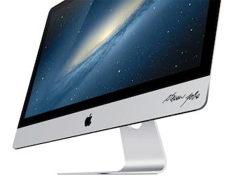 Steve Jobs autograph iMac Decal sticker.