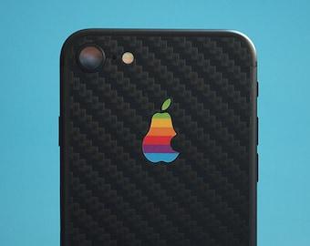 iPhone 7, iPhone 8, iPhone XR carbon fiber skin, 3M, retro pear logo!