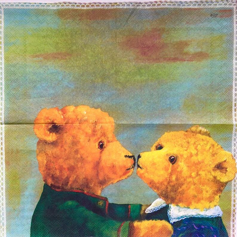 decoupage under glass Set of 2 napkins Asger bears for decoupage scrapbooking and other art and crafts mixed media