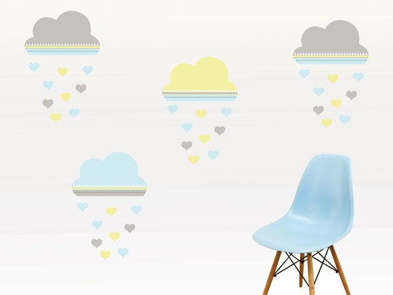 cute pastel clouds wall decal with hearts cute clouds wall | etsy