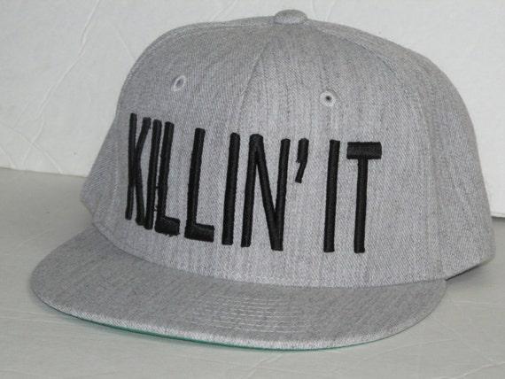 89acd6fb897379 KILLIN' IT Heather Grey Snapback Hat Sunhat | Etsy