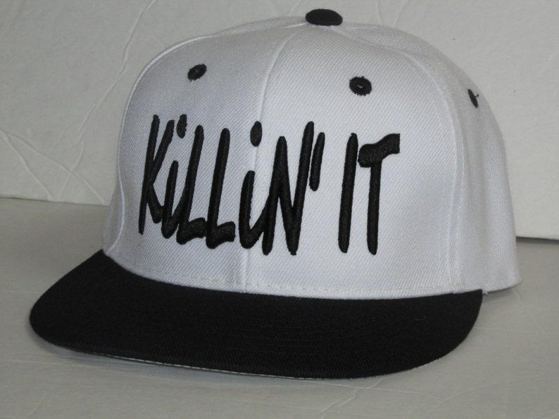 916c364ea76120 KILLIN' IT White/Black Snapback Hat Sunhat Running | Etsy