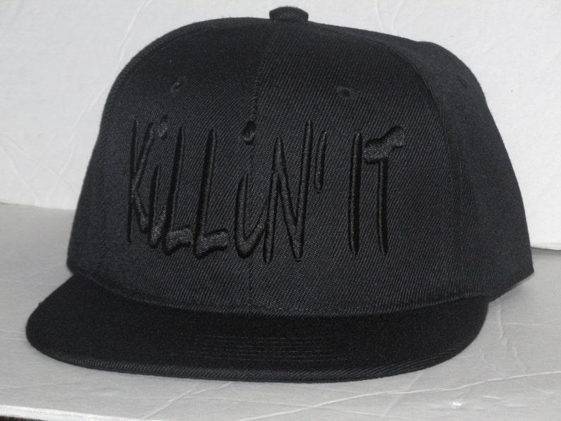 2f32159ff88bb3 KILLIN' IT Flatbill Snapback All Black Snapback Hat | Etsy
