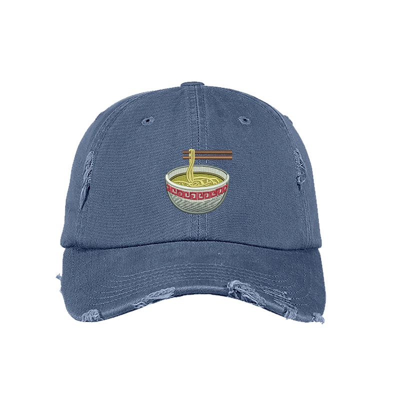 ee69e7f32f7 RAMEN Distressed Dad Hat Embroidered Noodle Soup Hat Low