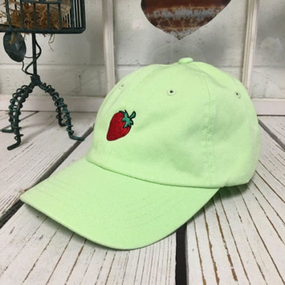 STRAWBERRY Baseball Hat Low Profile Embroidered LIME GREEN  1d7aa1bccc93
