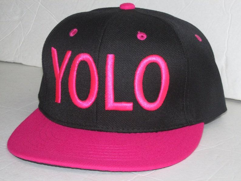 d7aac4600019a1 YOLO Black/Hot Pink 3D Snapback Hat Sunhat Running | Etsy