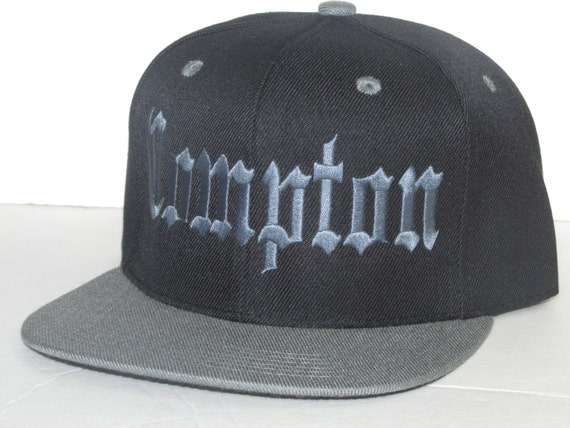COMPTON Flat bill SnapBack Black and Charcoal Low Profile  ef30149dad4