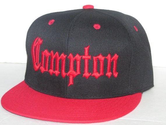 a17e51ddb90 COMPTON Flat bill SnapBack Black and Red Low Profile