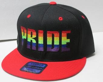 LGBT PRIDE Embroidered Black/Red flat bill Snap-Back