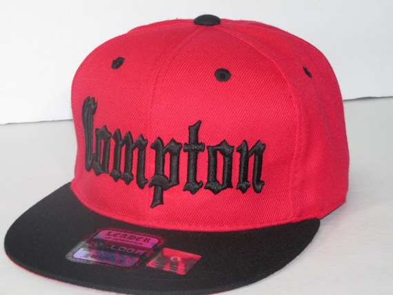 Compton Flat Bill Snapback Adjustable Baseball Cap Hat White//Red