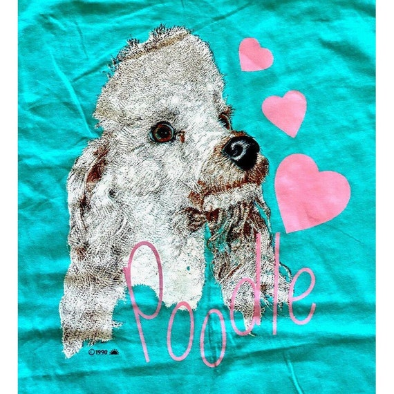 VTG 90s Poodle Dog Lover Hearts Single Stitch Short Sleeve Graphic Shirt Size L