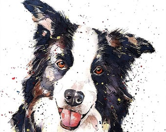 The Pursuit of Happiness Border Collie  -  Watercolour Print. Border Collie art, Border Collie print, Border Collie wall art.