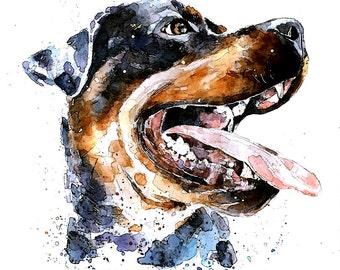 """Rottie Smile """" Print Watercolour A3 (30*40cm/16*12 Inches)"""