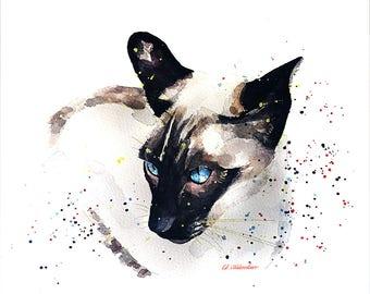 """Siamese 2  """" Print Watercolour A3 (30*40cm/16*12 Inches)"""
