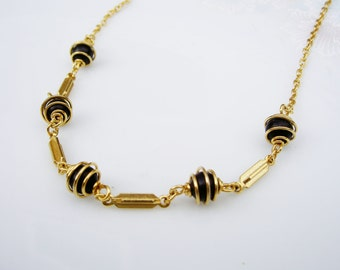 Vintage Black Bead and Gold Cage Chain Necklace