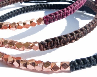 waxed cord bracelet faceted copper beads / friendship bracelet / woven bracelet / adjustable bracelet / macrame bracelet / braided bracelet