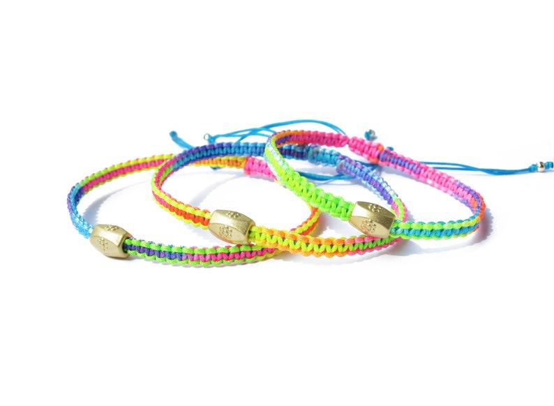 multicolor knotted nylon 24k gold plated brass bracelet  friendship bracelet  adjustable bracelet  macrame bracelet  braided bracelet